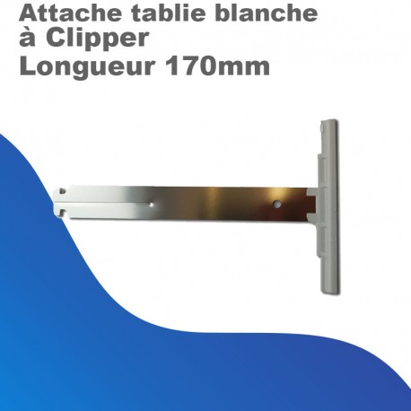Attache Tablier Blanche ZF - à Clipper - Longueur 170mm