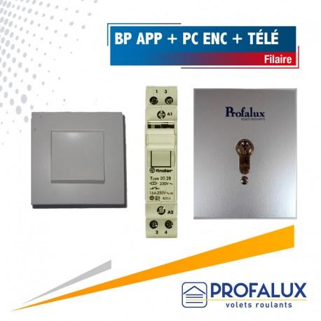 1 bouton poussoir intérieur en applique + 1 poussoir à clé extérieur encastré + 1 télérupteur