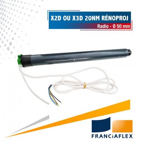 Moteur Franciasoft Radio Well'Com auto-configurable X2D ou X3D 20 Nm pour Rénoproj