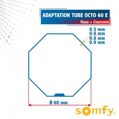 Roue + Couronne pour tube Octo 60 Etoile (Bubendorff) pour Moteurs Somfy Ø50mm