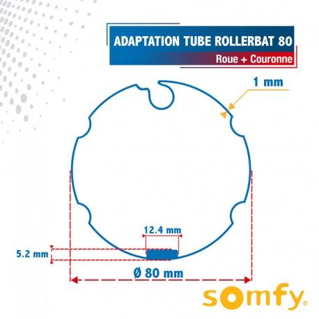 Roue + Couronne pour tube Rollerbat 80 pour Moteurs Somfy Ø50mm