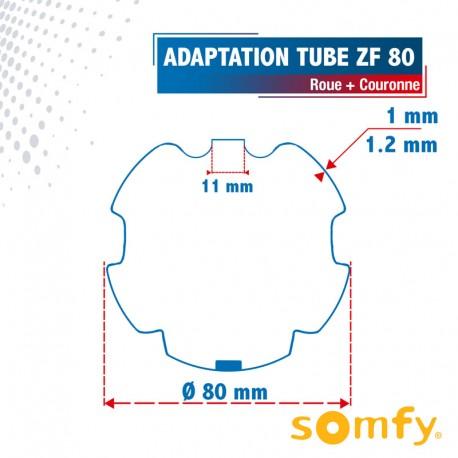 Roue + Couronne pour tube ZF 80 pour Moteurs Somfy Ø50mm