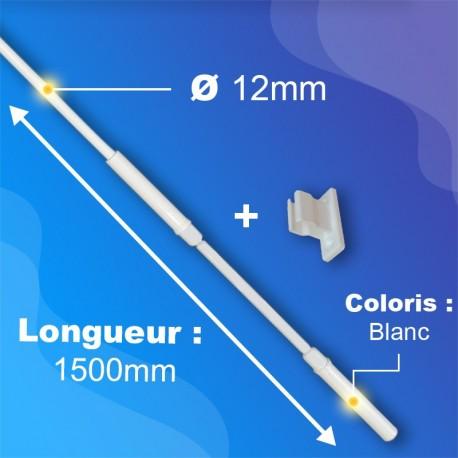 Tringle + Manivelle Blanche - Ø12mm - Longueur 1500mm - acier - ZF
