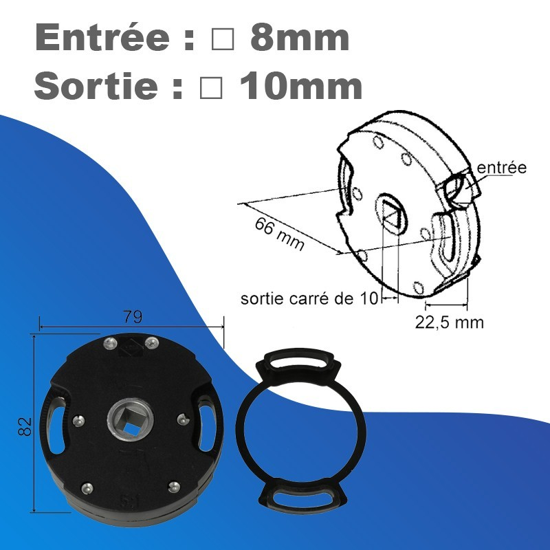 Treuil ACE Rapport 1/5 - Avec fins de course - entrée carré 8mm - sortie carré 10mm - Imbac-Gaviota